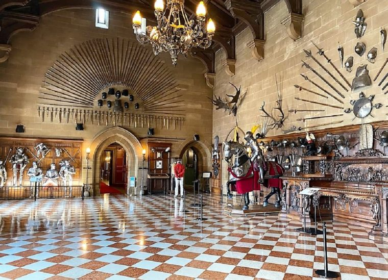 Armour filled entrance hall at Warwick Castle