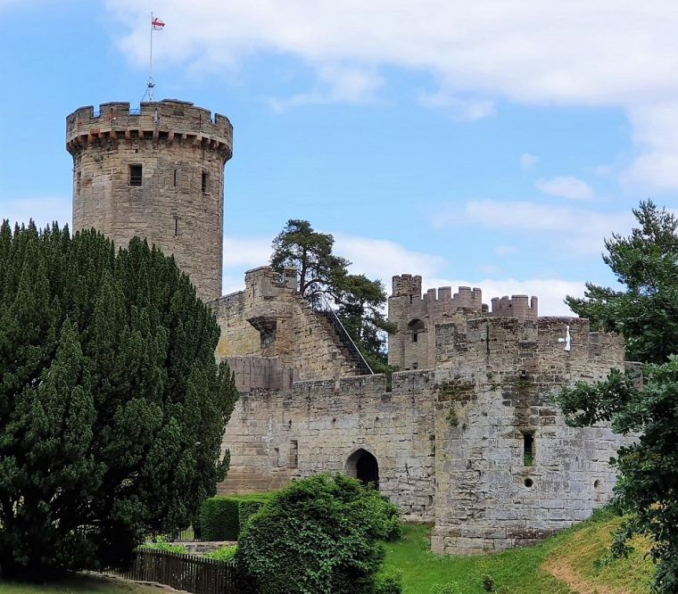 View of the walls and towers of Warwick Castle