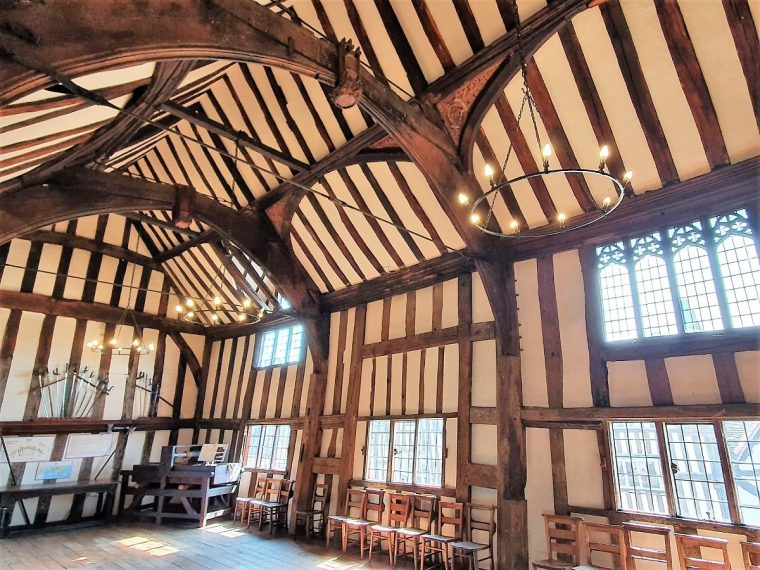 Interior view of old Guildhall in Lord Leycester Hospital Warwick