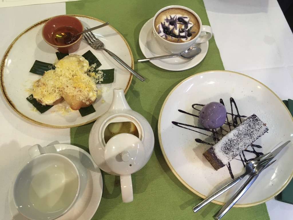 Romulo's bibingka, ube cheesecake and drinks