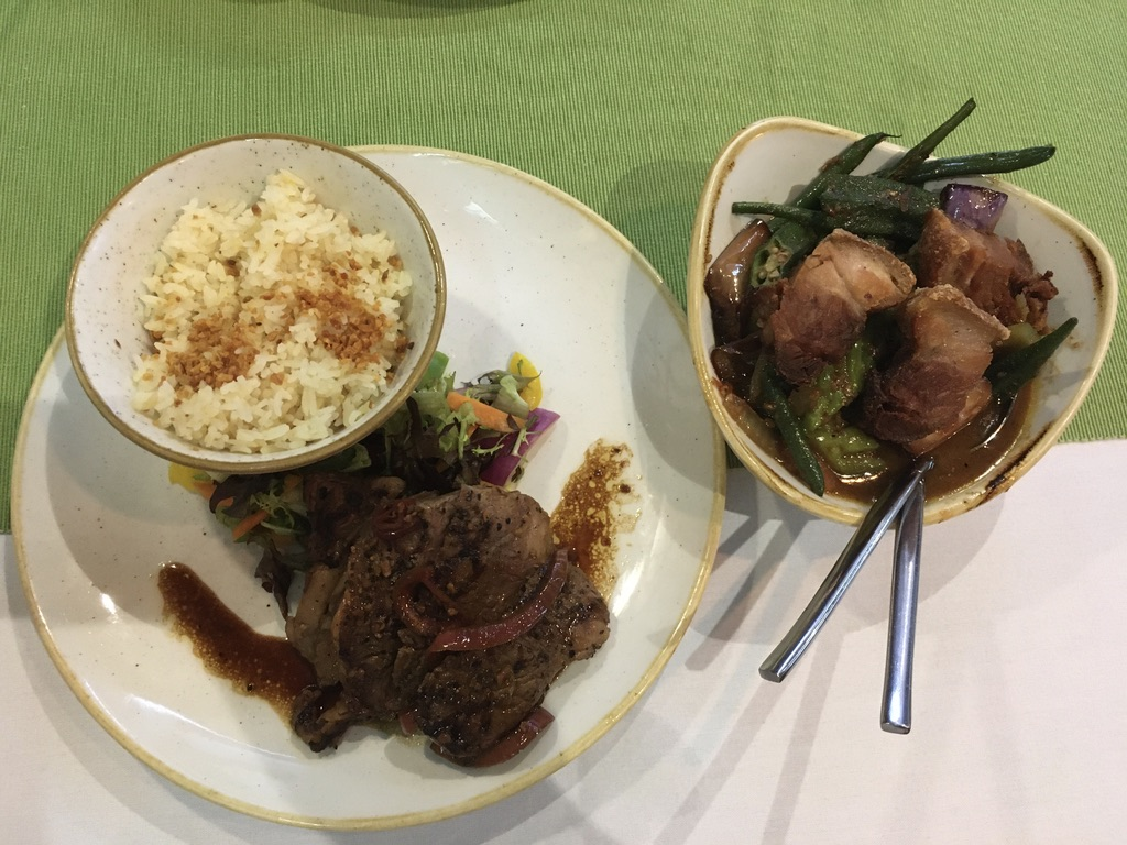 Romulo's steak Tagalog and bagnet pakbet