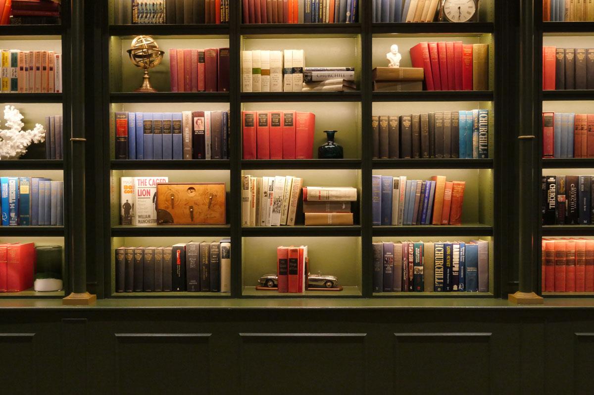 Books lining meeting room Hyatt Regency Churchill