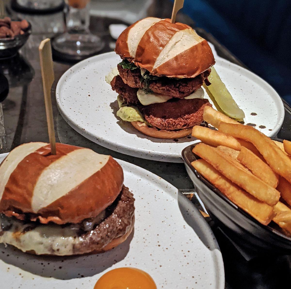 Burgers at the Churchill bar