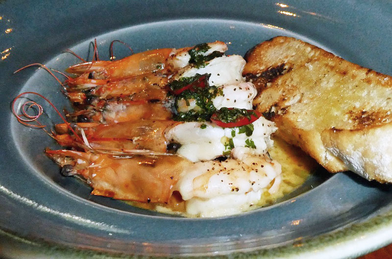 Grilled Tiger Prawns at the Crowne Plaza