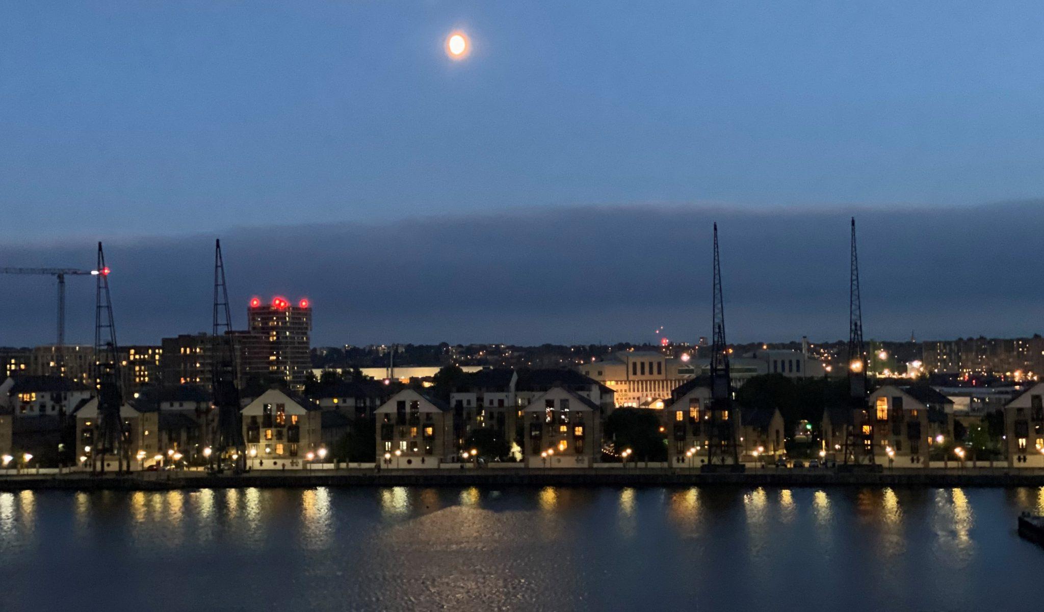 Royal Victoria dock at night