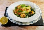 Halibut with prawns, fennel and samphire