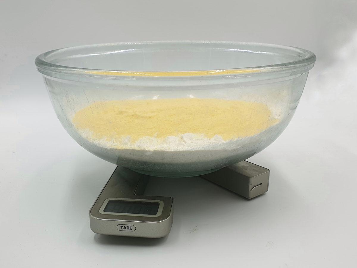 Scale focaccia flour