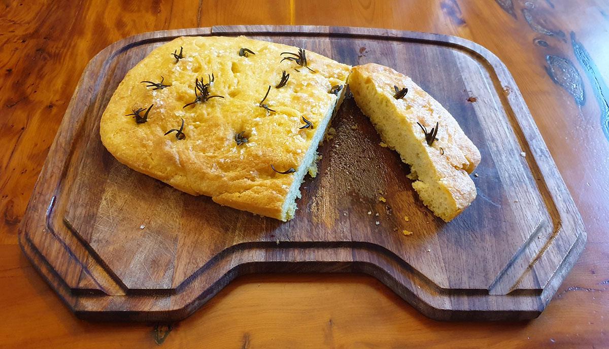 Cornbread foccacia baked