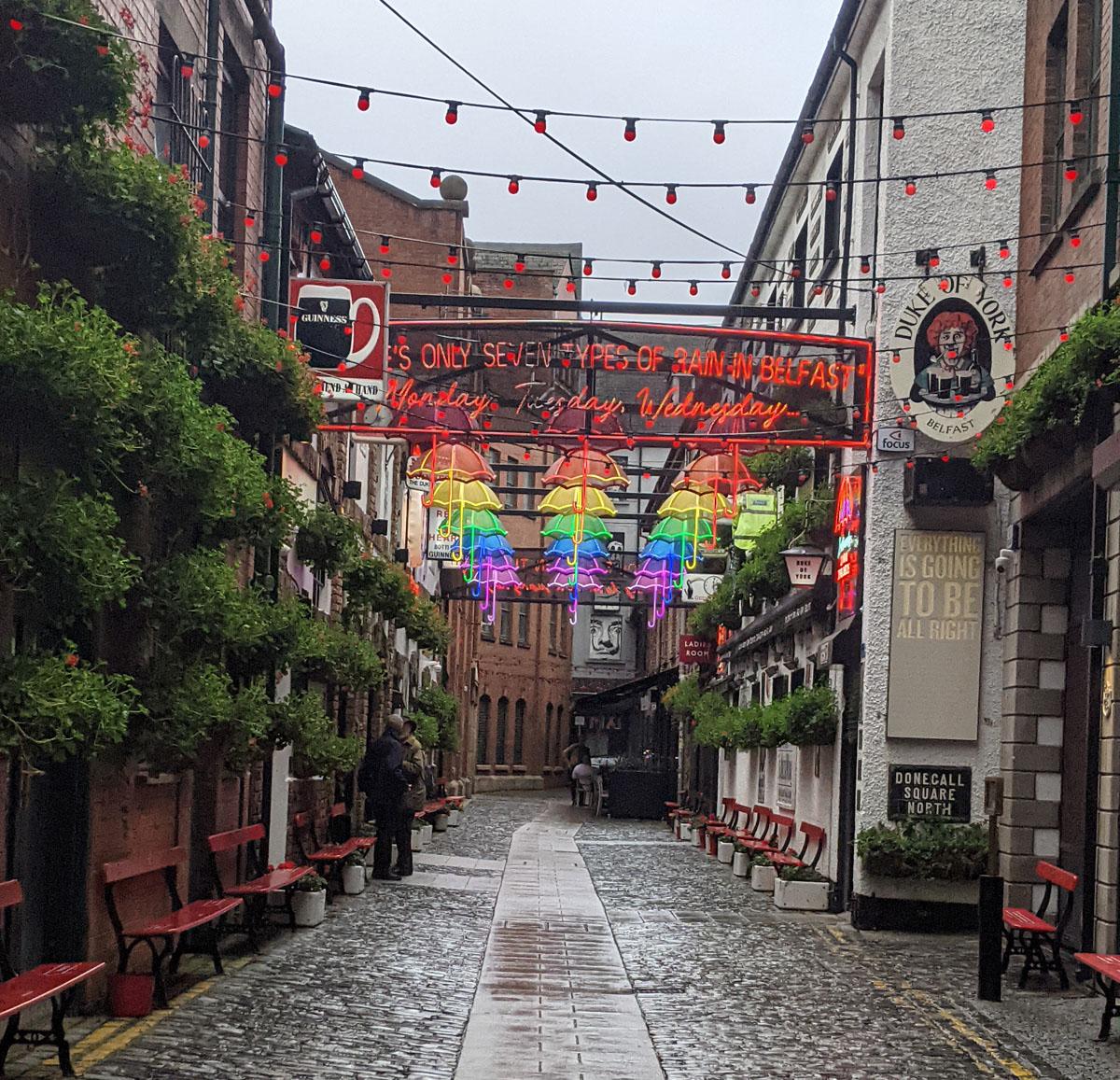Belfast Umbrellas in the Rain