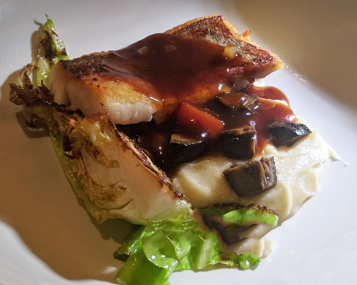 Hake with pickled walnuts and Bordelaise sauce