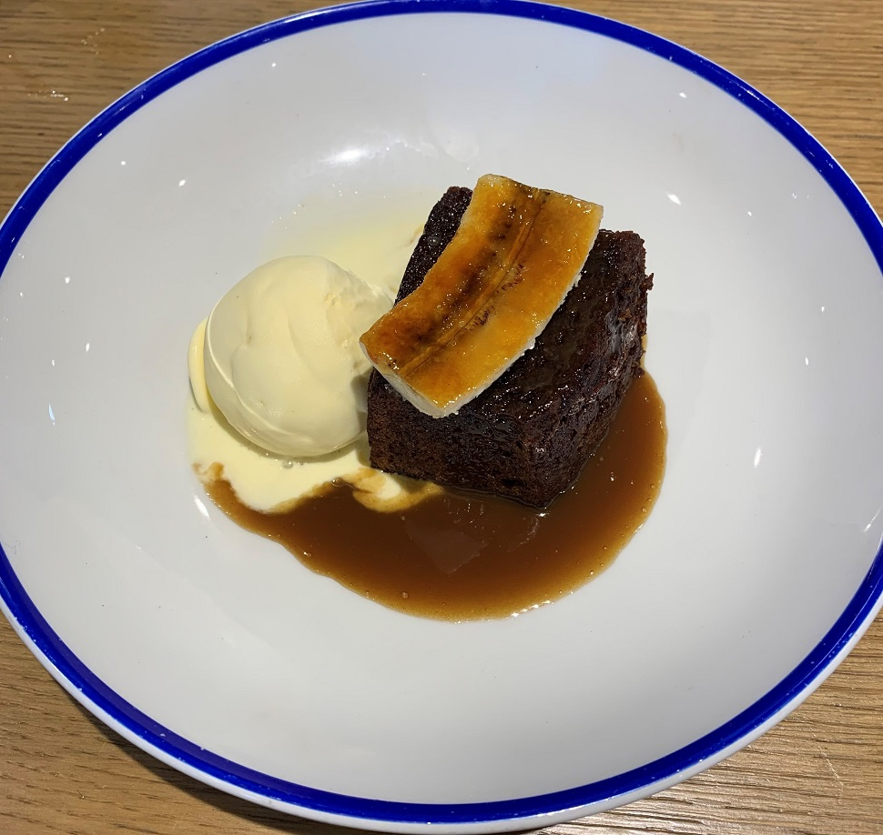 Sticky toffee pudding with caramelised banana the Sardine Factory Restaurant Looe